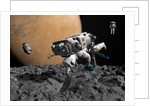 An astronaut makes first human contact with Mars' moon Phobos. by Walter Myers