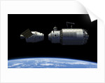 A manned reusable crew capsule docks with an orbital maintenance platform. by Walter Myers