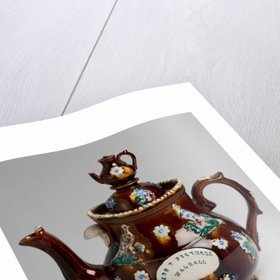 "Measham ware ""bargee art"" teapot dedicated to Mrs Pearsall of Walsall, 1860 - 1910 by unknown"