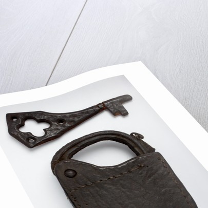 Leather padlock and key by unknown