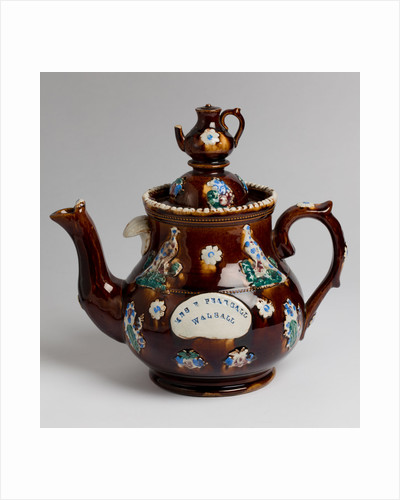 """Measham ware """"bargee art"""" teapot dedicated to Mrs Pearsall of Walsall, 1860 - 1910 by unknown"""
