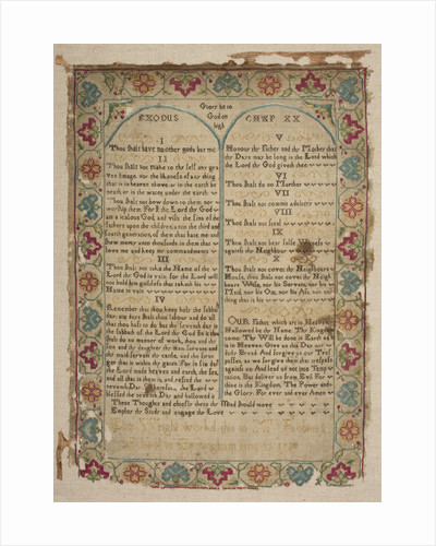 """Sampler in the form of the page of Bible, """"Eliz Wright workd this in Mrs Robins's School in Birmingham June 12 1737"""" by unknown"""