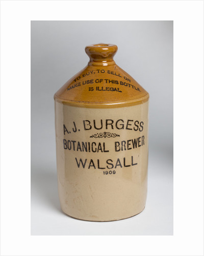 Flagon from A.J. Burgess, Botanical Brewer of Walsall, 1909 by unknown