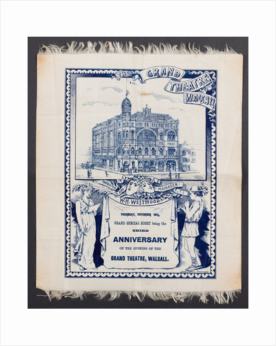 Souvenir silk programme, Grand Theatre, Walsall, 1893 by unknown