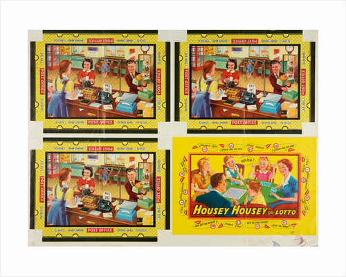 "Box lids for ""Housey Housey or Lotto"" and ""Post Office"" games, Walsall Lithographic Company Limited, 1950s by unknown"