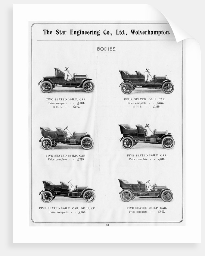 Body Designs, Star Engineering Co. Ltd., 1910 by unknown