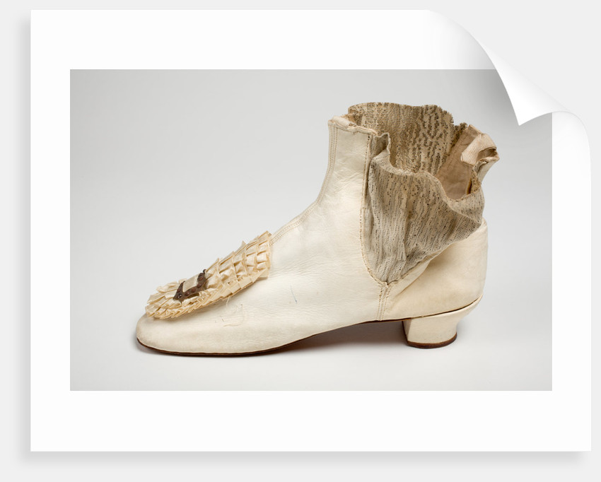 Ankle boots of white kid leather, c.1864 by unknown