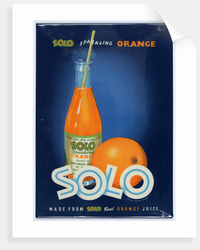 Solo Sparkling Orange Juice advertisement, printed by Walsall Lithographic Company Limited, 1960s by unknown