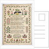 """Sampler stitched with a poem, """"The Happy Choice"""", """"Elizabeth Green, Cheslyn Hay School, 1837"""" by unknown"""