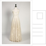 White cotton wedding dress decorated with embroidered net with pearl sequins, 1953 by unknown