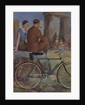 Foiled paper image of bicyclists at Stonehenge,  printed by Walsall Lithographic Company Limited, c1920s by unknown
