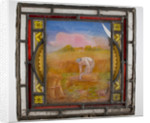 Window pane painted with a harvest scene, from the Woolpack Inn, Walsall by unknown