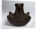 Large, decoratively carved wooden stirrup by unknown